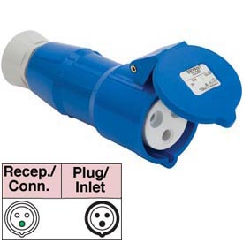 Bryant 332R6S Splashproof Receptacle, 2 Pole, 3 Wire, 32A, 200-250V AC, Blue