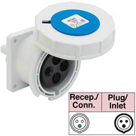 Bryant 332R6W Receptacle, 2 Pole, 3 Wire, 32A, 200-250V AC, Blue