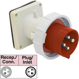 Bryant 360B7W Inlet, 2 Pole, 3 Wire, 60A, 480V AC, Red