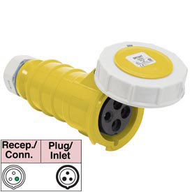 Bryant 360C4W Connector, 2 Pole, 3 Wire, 60A, 125V AC, Yellow