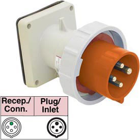 Bryant 4100B12W Inlet, 3 Pole, 4 Wire, 100A, 125/250V AC, Orange