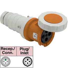 Bryant 4100C12W Connector, 3 Pole, 4 Wire, 100A, 125/250V AC, Orange