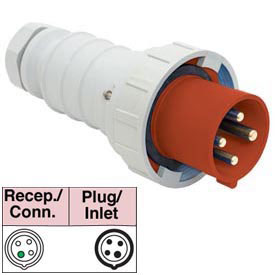 Bryant 4100P7W Plug, 3 Pole, 4 Wire, 100A, 3ph 480V AC, Red