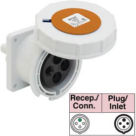 Bryant 4100R12W Receptacle, 3 Pole, 4 Wire, 100A, 125/250V AC, Orange