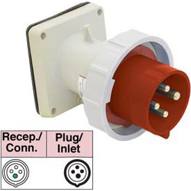 Bryant 4125B6W Inlet, 3 Pole, 4 Wire, 125A, 380-415V AC, Red