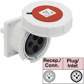 Bryant 4125R6W Receptacle, 3 Pole, 4 Wire, 125A, 380-415V AC, Red