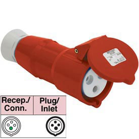 Bryant 416P6S Splashproof Plug, 3 Pole, 4 Wire, 16A, 380-415V AC, Red