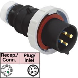 Bryant 420P5W Plug, 3 Pole, 4 Wire, 20A, 3ph 600V AC, Black