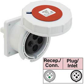Bryant 432R6W Receptacle, 3 Pole, 4 Wire, 32A, 380-415V AC, Red