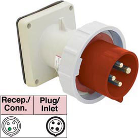 Bryant 460B7W Inlet, 3 Pole, 4 Wire, 60A, 3ph 480V AC, Red