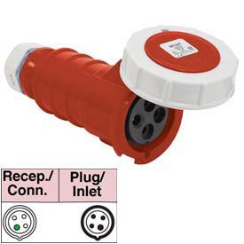 Bryant 460C7W Connector, 3 Pole, 4 Wire, 60A, 3ph 480V AC, Red