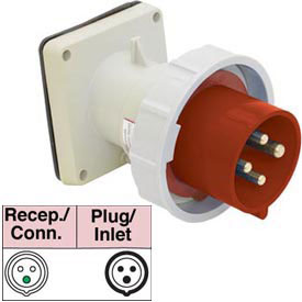 Bryant 463B6W Inlet, 3 Pole, 4 Wire, 63A, 380-415V AC, Red