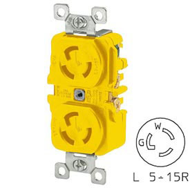 Bryant 4700DRCR TECHSPEC® Duplex Receptacle, L5-15, 15A, 125V, Yellow