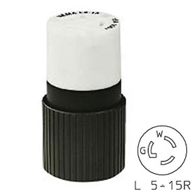 Bryant 4732NC TECHSPEC® Connector, L5-15, 15A, 125V, Black/White