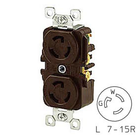 Bryant 4750DR TECHSPEC® Duplex Receptacle, L7-15, 15A, 277V AC, Brown