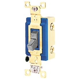 Bryant 4801BGRY Industrial Grade Toggle Switch, Single Pole, 15A, 120/277V AC, Gray