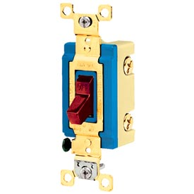 Bryant 4802RED Industrial Grade Toggle Switch, Double Pole, 15A, 120/277V AC, Red
