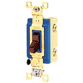 Bryant 4803B Industrial Grade Toggle Switch, Three Way, 15A, 120/277V AC, Brown