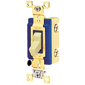 Bryant 4803I Industrial Grade Toggle Switch, Three Way, 15A, 120/277V AC, Ivory