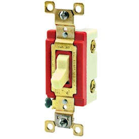 Bryant 4804I Industrial Grade Toggle Switch, Four Way, 15A, 120/277V AC, Ivory
