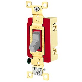 Bryant 4901BGRY Industrial Grade Toggle Switch, Single Pole, 20A, 120/277V AC, Gray