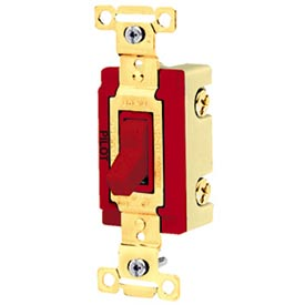Bryant 4901PLR277 Industrial Grade Toggle Switch, Single Pole, 20A, 277V AC, Pilot Red