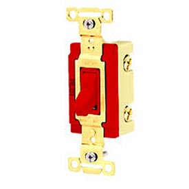 Bryant 4902PLR120 Industrial Grade Toggle Switch, Double Pole, 20A, 120V AC, Pilot Red