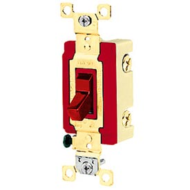 Bryant 4903BRED Industrial Grade Toggle Switch, Three Way, 20A, 120/277V AC, Red