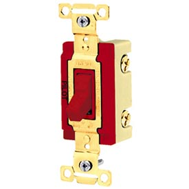 Bryant 4903PLR277 Industrial Grade Toggle Switch, Three Way, 20A, 277V AC, Pilot Red