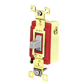 Bryant 4921GRY Toggle Switch, Single Pole, Double Throw, 20A, 120/277V AC, Momentary Contact