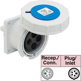 Bryant 5100R9W Receptacle, 4 Pole, 5 Wire, 100A, 3ph Y 120/208V AC, Blue