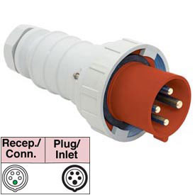 Bryant 5125P6W Plug, 4 Pole, 5 Wire, 125A, 200/346, 240/415V AC, Red