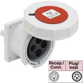 Bryant 5125R6W Receptacle, 4 Pole, 5 Wire, 125A, 200/346, 240/415V AC, Red