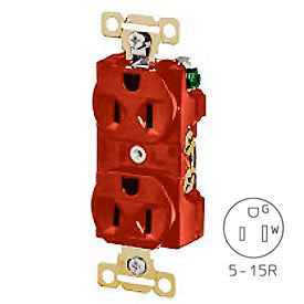 Bryant 5242RED Heavy-Duty Duplex Receptacle, 15A, 125V, Red, Self Ground