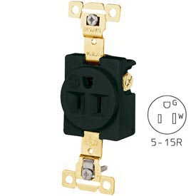 Bryant 5261BLK TECHSPEC® Industrial Grade Single Receptacle, 15A, 125V, Black