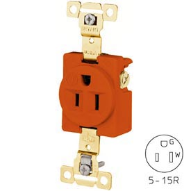 Bryant 5261IG TECHSPEC® Industrial Grade Single Receptacle, 15A, 125V, Orange