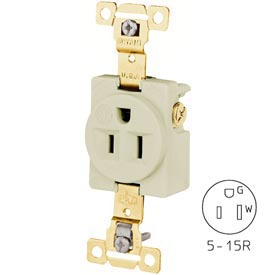 Bryant 5261IGI TECHSPEC® Industrial Grade Single Receptacle, 15A, 125V, Ivory