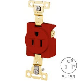 Bryant 5261RED TECHSPEC® Industrial Grade Single Receptacle, 15A, 125V, Red