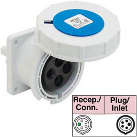 Bryant 530R9W Receptacle, 4 Pole, 5 Wire, 30A, 3ph Y 120/208V AC, Blue