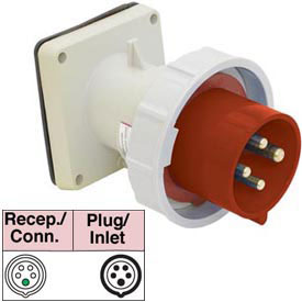 Bryant 532B6W Inlet, 4 Pole, 5 Wire, 32A, 200/346, 240/415V AC, Red