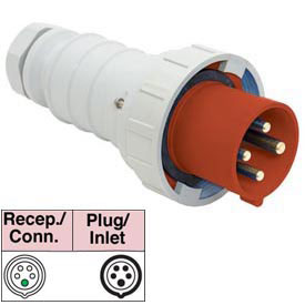 Bryant 532P6W Plug, 4 Pole, 5 Wire, 32A, 200/346, 240/415V AC, Red