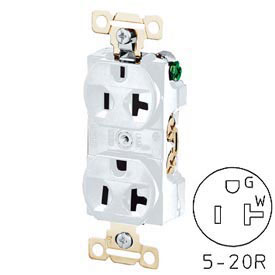 Bryant 5342W Heavy-Duty Duplex Receptacle, 20A, 125V, White, Self Ground