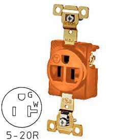 Bryant 5361IG TECHSPEC® Industrial Grade Single Receptacle, 20A, 125V, Orange