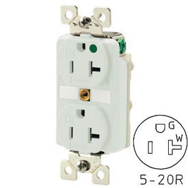 Bryant 5361IGW TECHSPEC® Industrial Grade Single Receptacle, 20A, 125V, White
