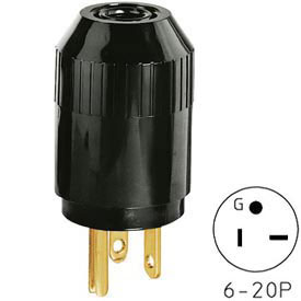 Bryant 5464B TECHSPEC® Straight Blade Plug, 20A, 250V, Black