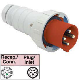 Bryant 563P6W Plug, 4 Pole, 5 Wire, 63A, 200/346, 240/415V AC, Red