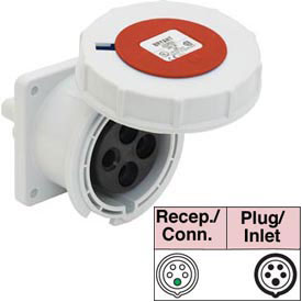 Bryant 563R6W Receptacle, 4 Pole, 5 Wire, 63A, 200/346, 240/415V AC, Red