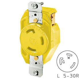 Bryant 70530FRCR TECHSPEC® Receptacle, L5-30, 30A, 125V, Yellow
