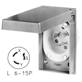 Bryant 70620MBWP Weather Protective Power Inlets, L6-20, 20A, 250V, Aluminum