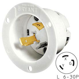 Bryant 70630MB TECHSPEC® Base, L6-30, 30A, 250V, White